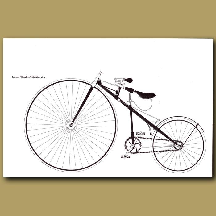 Antique print. Lawson 'Bicyclette' Machine, 1879