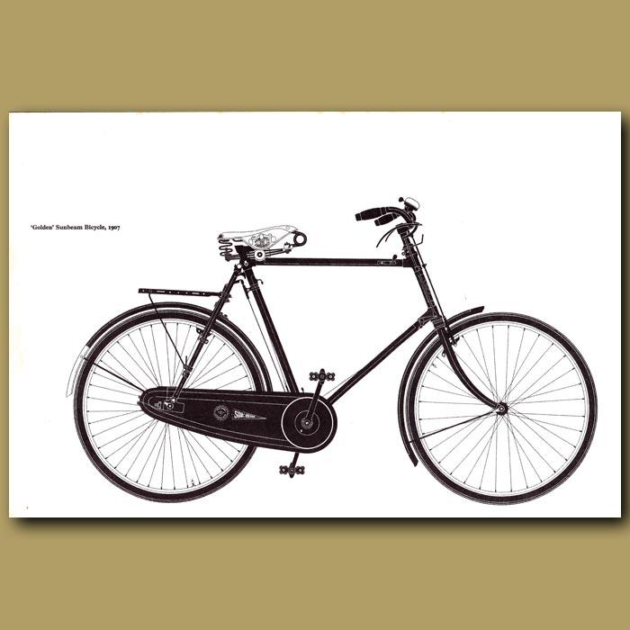 Antique print. Golden Sunbeam Bicycle, 1907