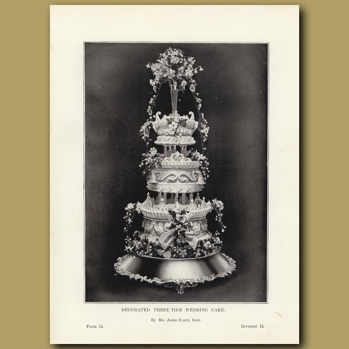 Antique print. Decorated Three-Tier Wedding Cake