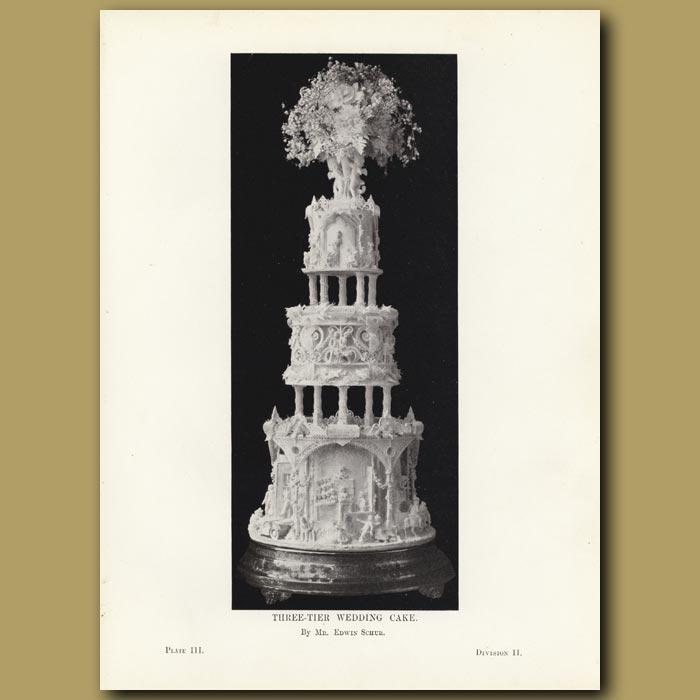Antique print. Three-Tier Wedding Cake
