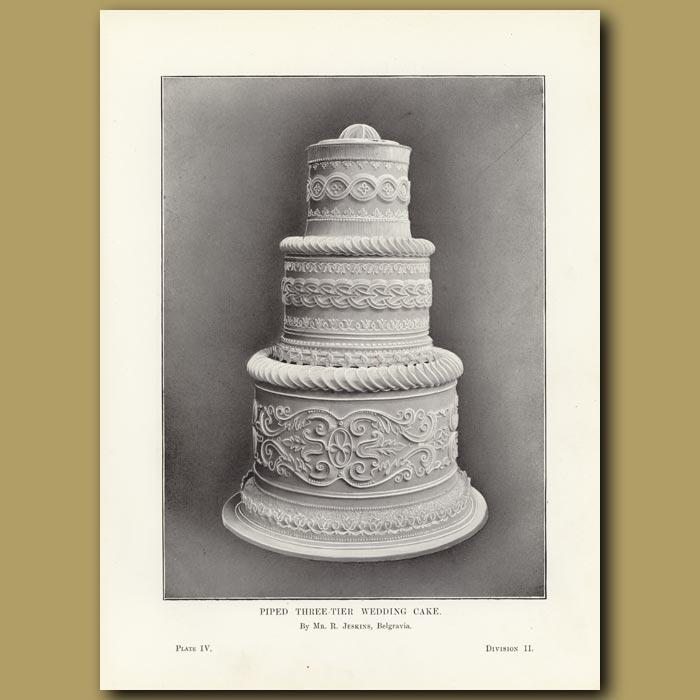 Antique print. Piped Three-Tier Wedding Cake