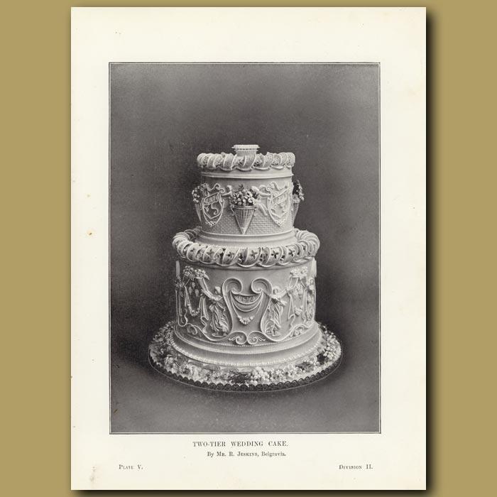 Antique print. Two-Tier Wedding Cake