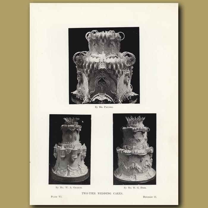 Antique print. Two-Tier Wedding Cakes
