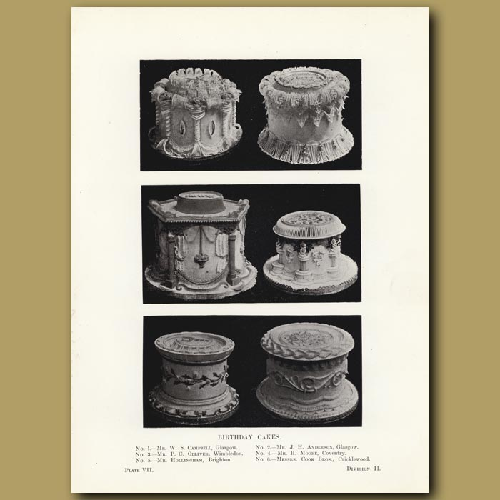 Antique print. Birthday Cakes