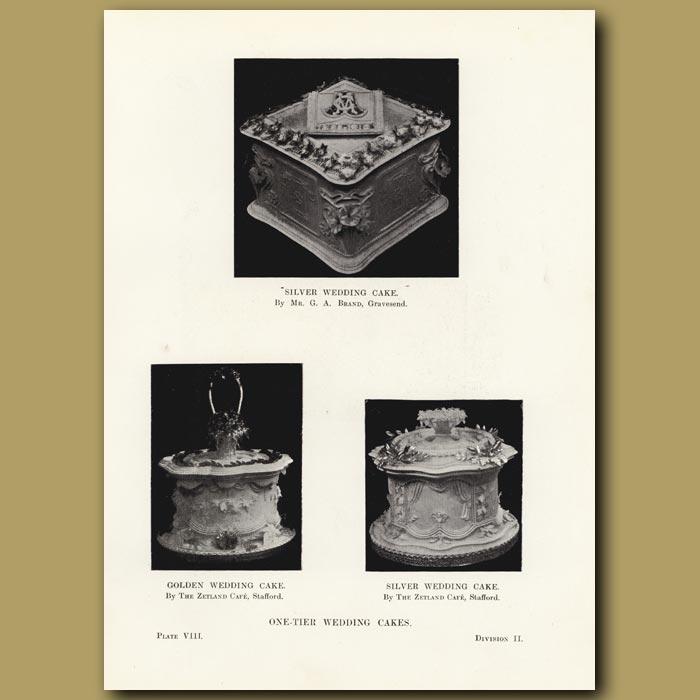 Antique print. One-Tier Wedding Cakes