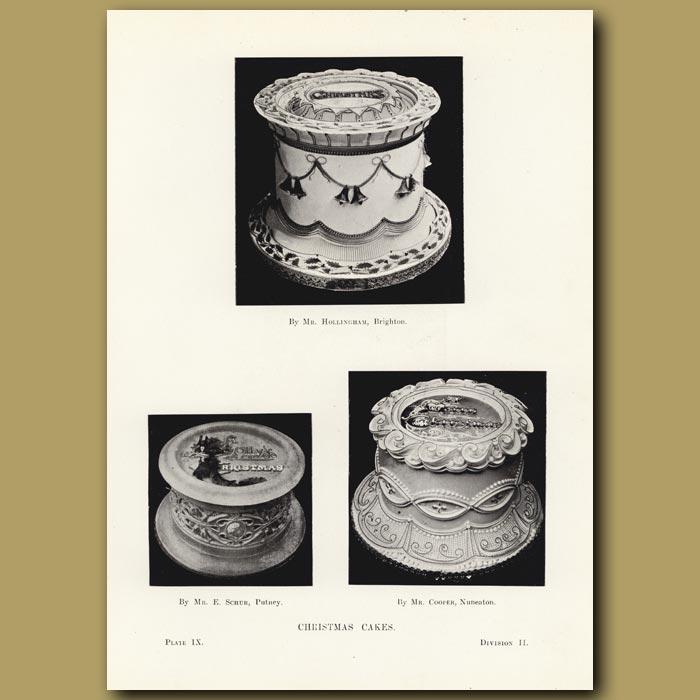 Antique print. Christmas Cakes