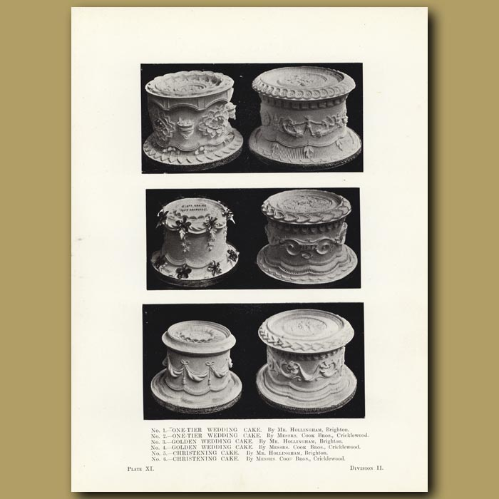 Antique print. One-Tier Wedding Cakes, Golden Wedding Cake and Christening Cakes