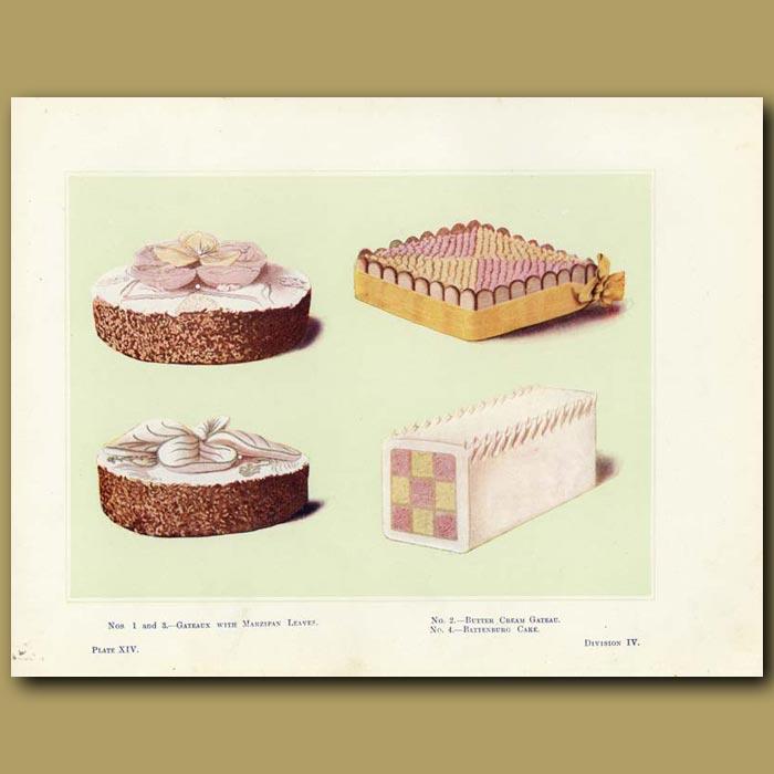 Antique print. Gateaux with Marzipan Leaves, Battenburg Cake
