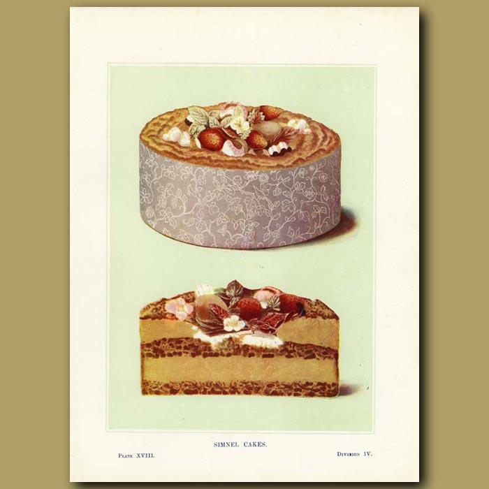 Antique print. Simnel Cakes