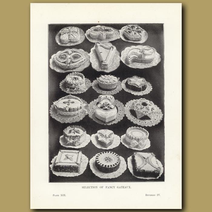Antique print. Selection of Fancy Gateaux