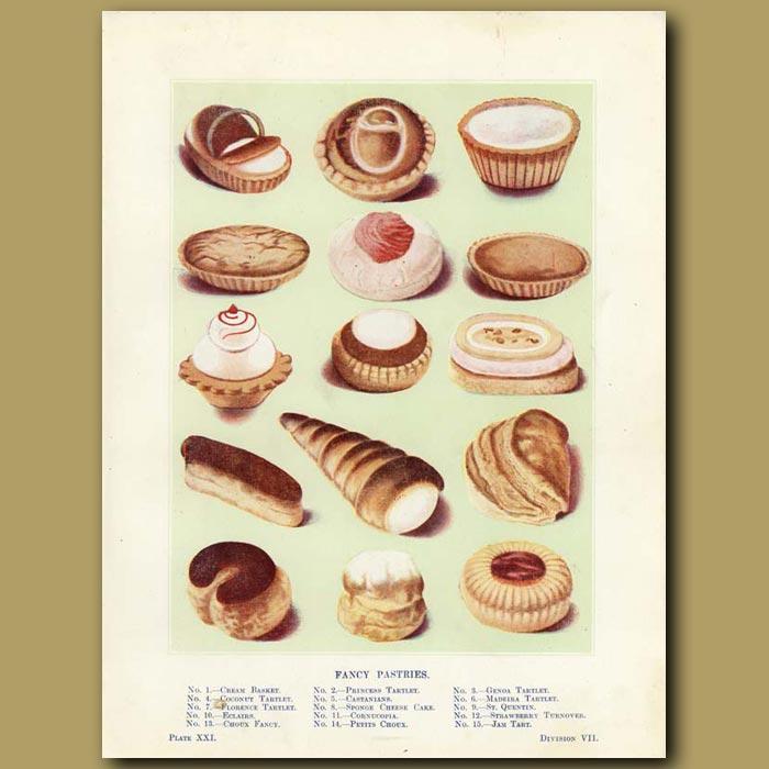 Antique print. Fancy Pastries