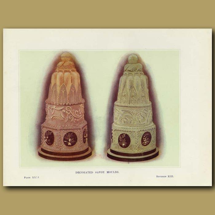 Antique print. Decorated Savoy Moulds