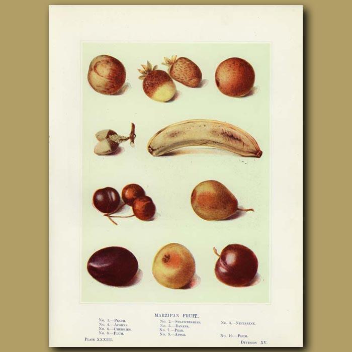 Antique print. Marzipan fruit