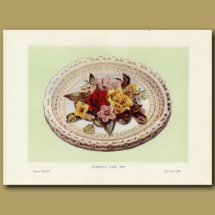Antique print. Marzipan cake top