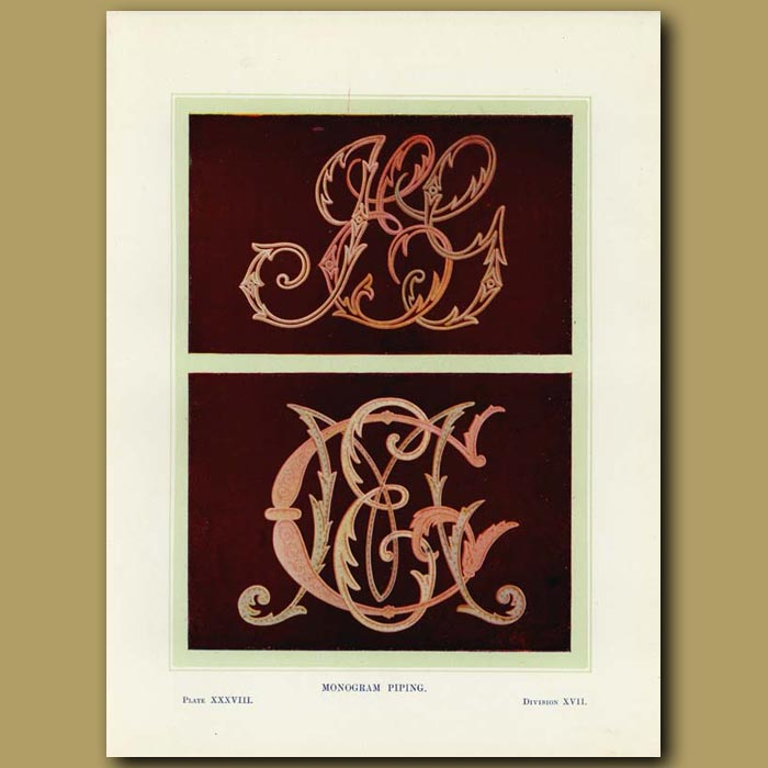Antique print. Monogram piping