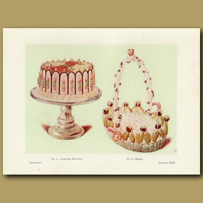 Antique print. Trifle and Charlotte Ecossaise
