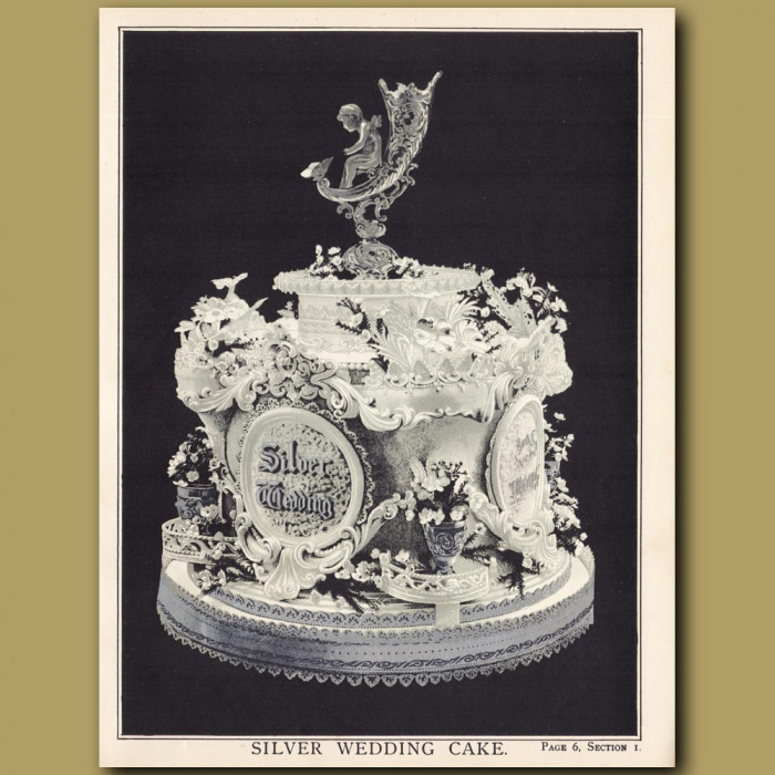 Silver Wedding Cake: Genuine antique print for sale.