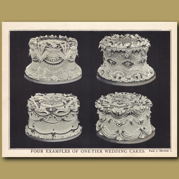 Four Examples Of One-Tier Wedding Cakes: Genuine antique print for sale.