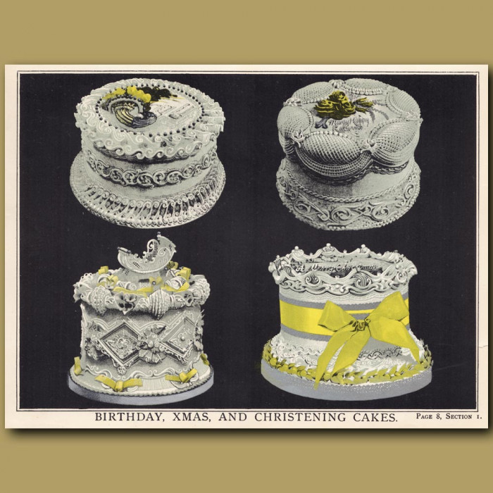 Birthday, Xmas And Christening Cakes: Genuine antique print for sale.