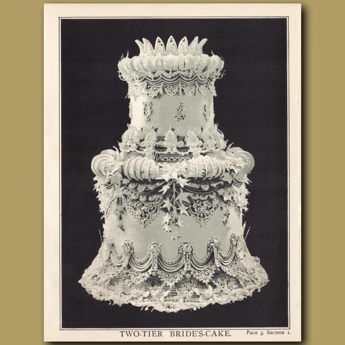 Two-Tier Bride's Cake: Genuine antique print for sale.