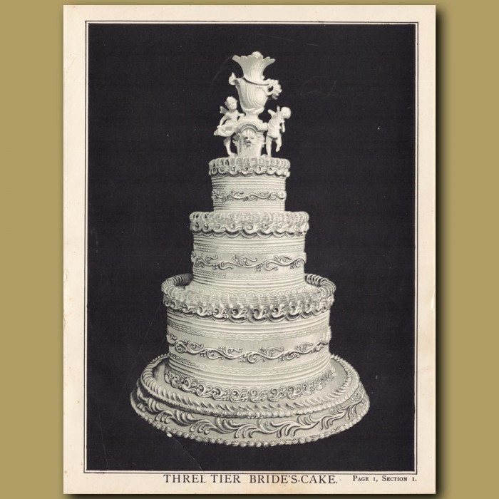 Three-Tier Bride's Cake: Genuine antique print for sale.