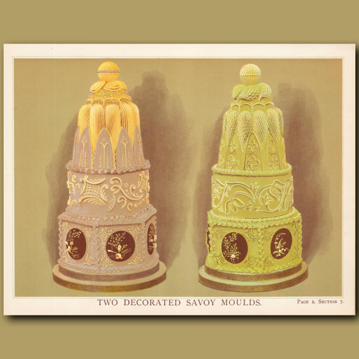 Two Decorated Savoy Moulds: Genuine antique print for sale.