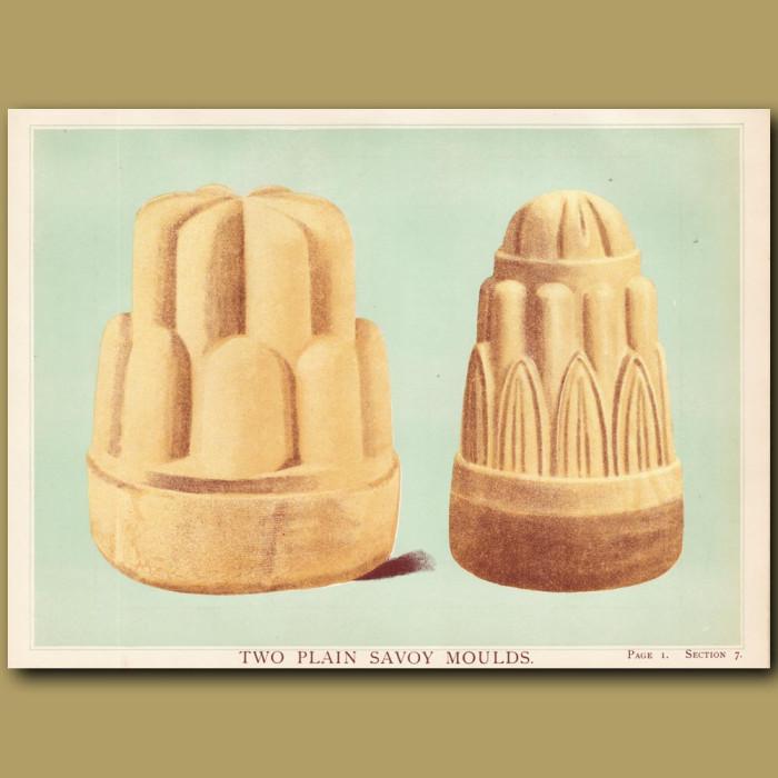 Two Plain Savoy Moulds: Genuine antique print for sale.
