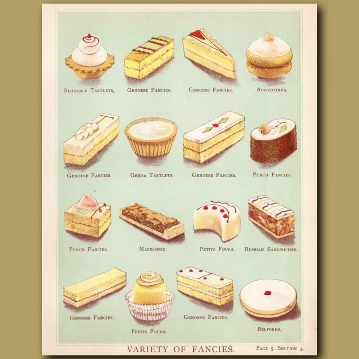 Variety Of Fancies. Genoa Tart, Petit Four And More: Genuine antique print for sale.
