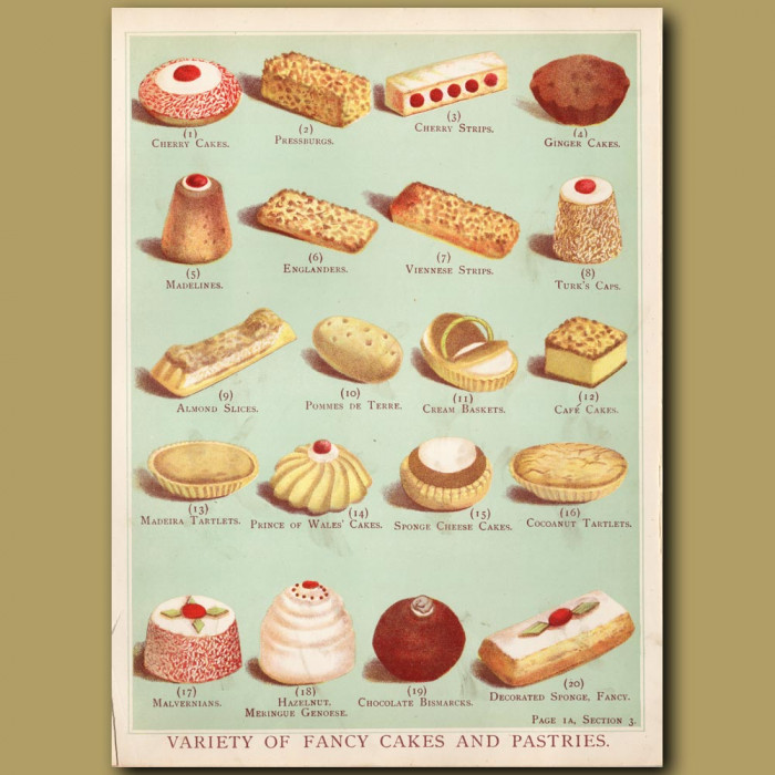 Variety Of Fancy Cake And Pastries: Genuine antique print for sale.