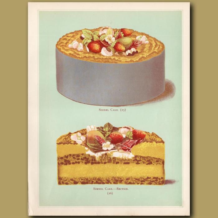 Simnel Cake: Genuine antique print for sale.