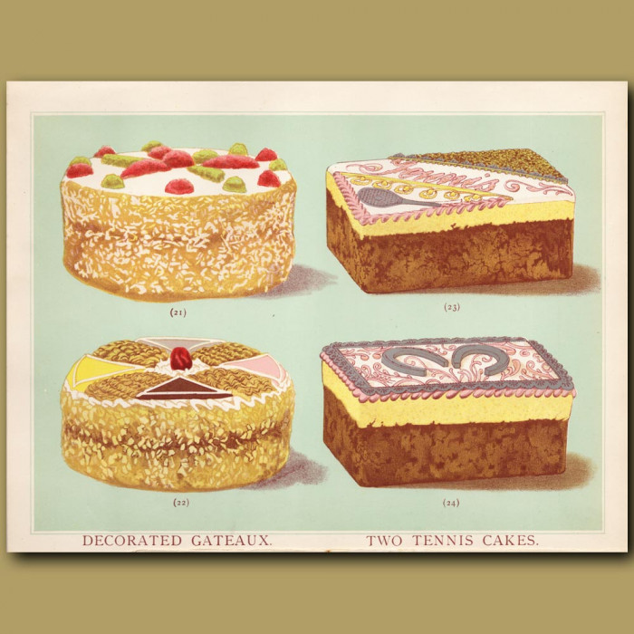 Decorated Gateaux And Two Tennis Cakes: Genuine antique print for sale.