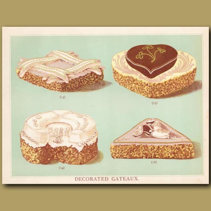 Decorated Gateaux: Genuine antique print for sale.