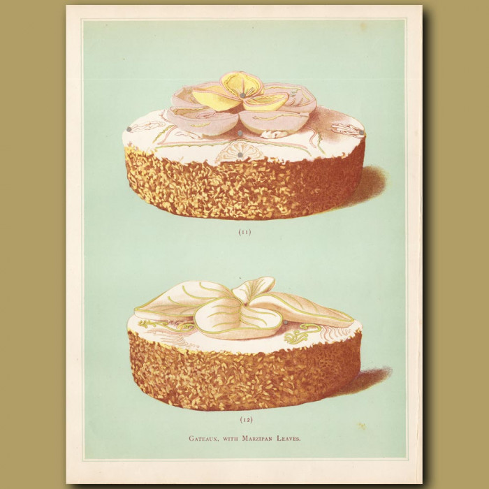Gateaux With Marzipan Leaves: Genuine antique print for sale.