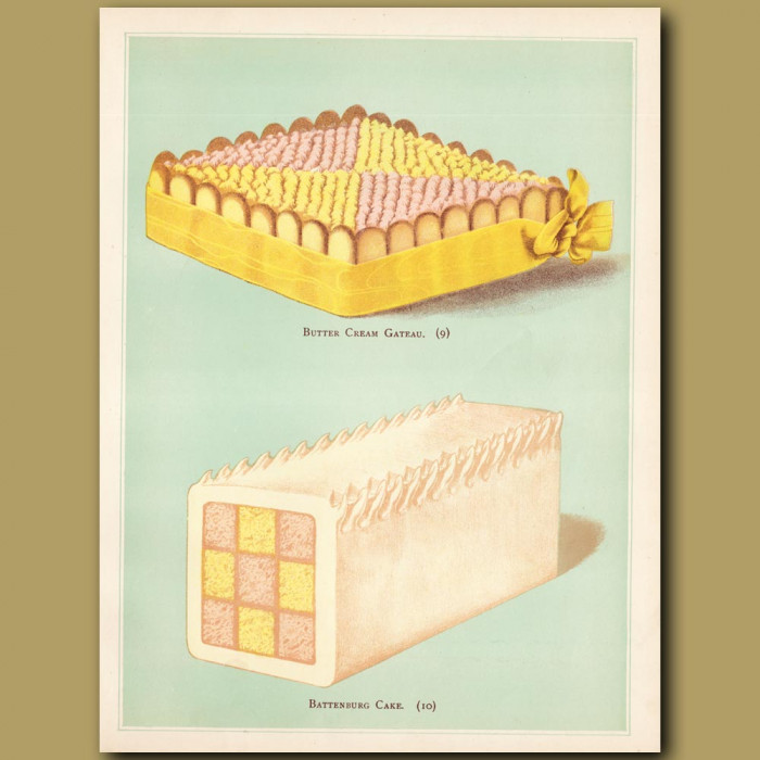 Butter Cream Gateau And Battenburg Cake: Genuine antique print for sale.