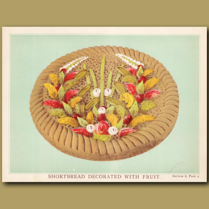 Shortbread Decorated With Fruit: Genuine antique print for sale.