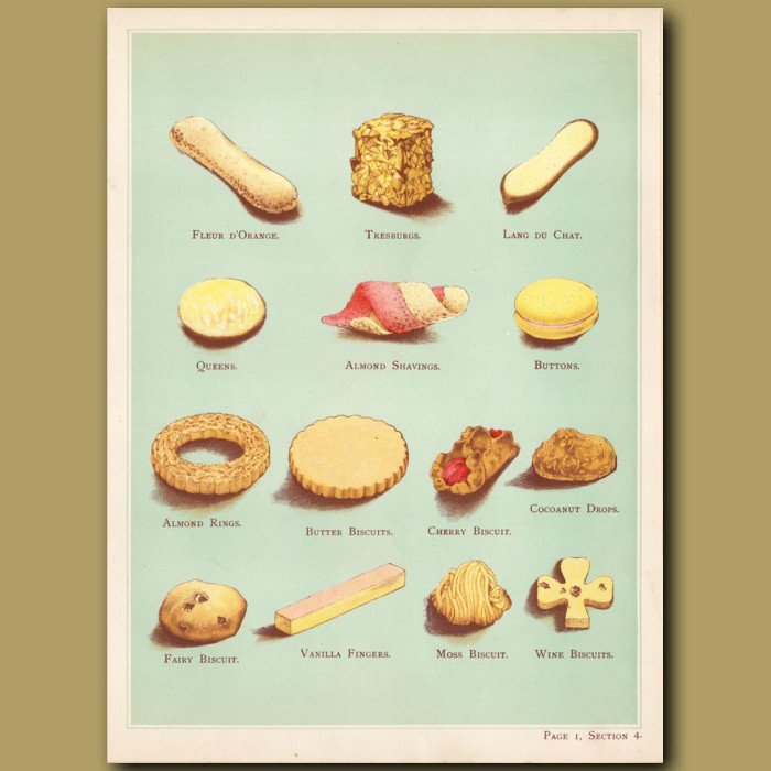 Biscuits. Vanilla Fingers, Almond Ring, Buttons: Genuine antique print for sale.