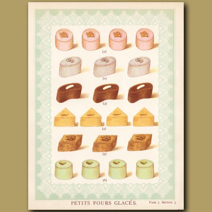 Petit Four Glaces: Genuine antique print for sale.