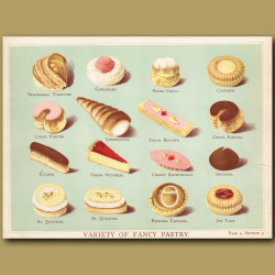 Variety Of Fancy Pastry. Strawberry Turnover, Eclair, Jam Tart