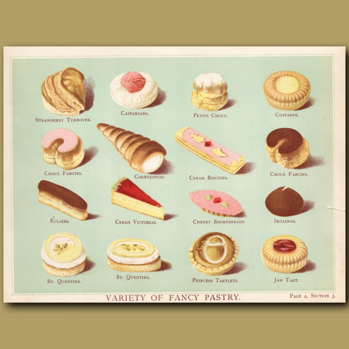 Variety Of Fancy Pastry. Strawberry Turnover, Eclair, Jam Tart: Genuine antique print for sale.