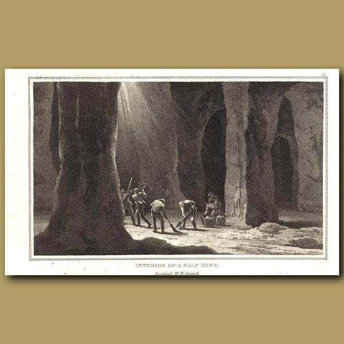 Antique print. Interior of a Salt Mine