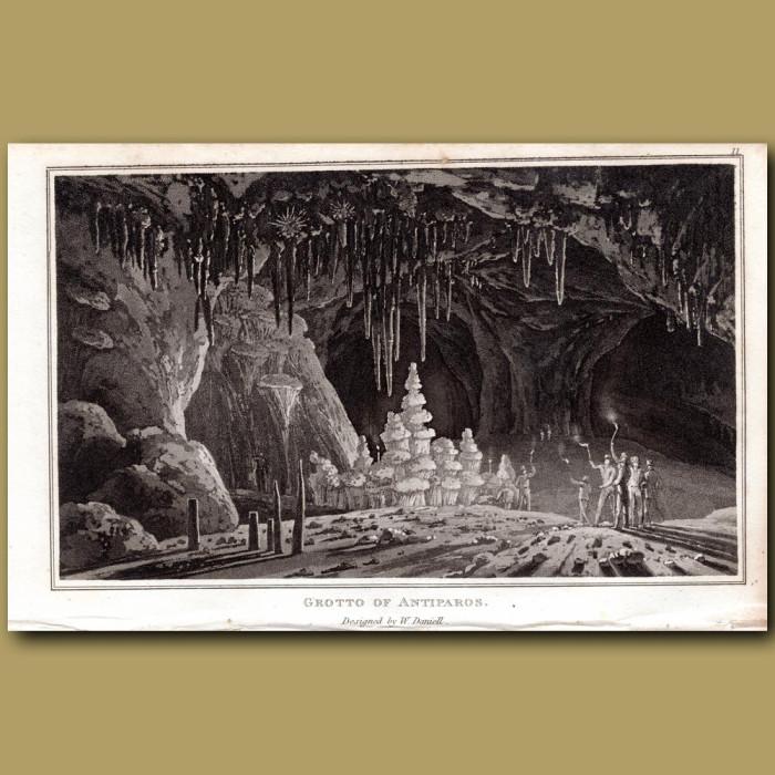 Grotto of Antiparos: Genuine antique print for sale.
