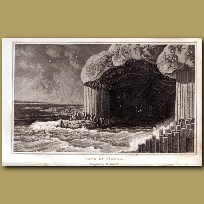 Cave of Fingal: Genuine antique print for sale.