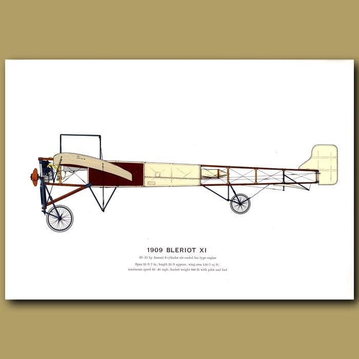 Antique print. Bleriot XI Plane 1909