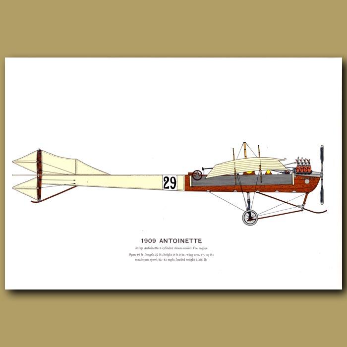 Antique print. Antoinette Plane 1909