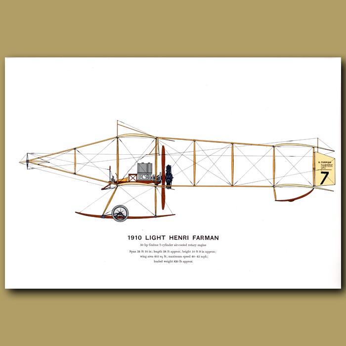 Antique print. Light Henri Farman Plane 1910