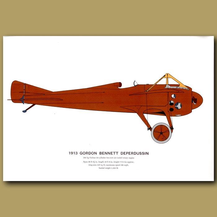 Antique print. Gordon Bennett Deperdussin Plane 1913