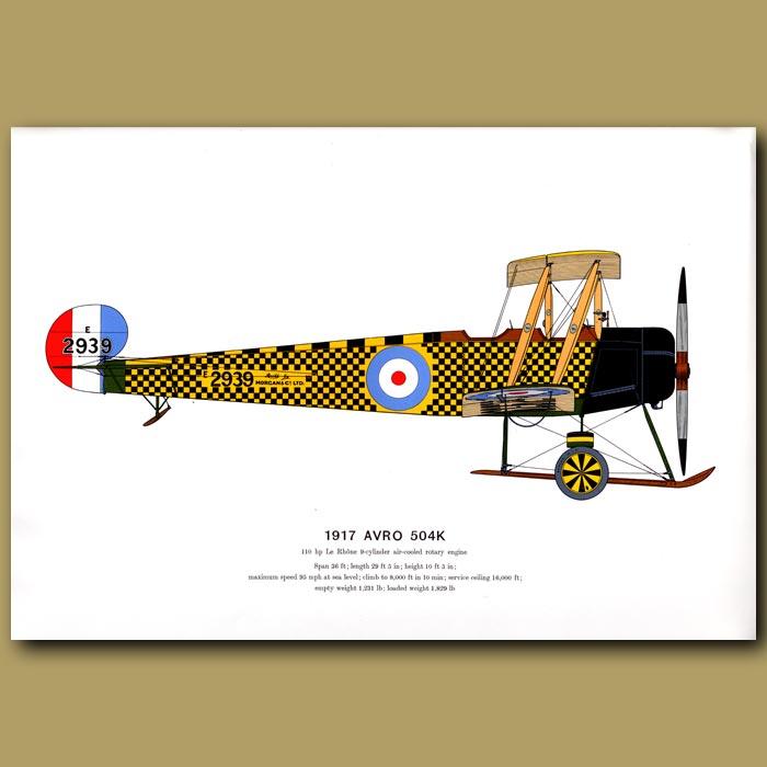 Antique print. Avro 504K Plane 1917