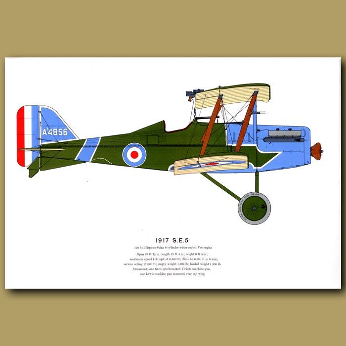 Antique print. S.E 5 Plane 1917