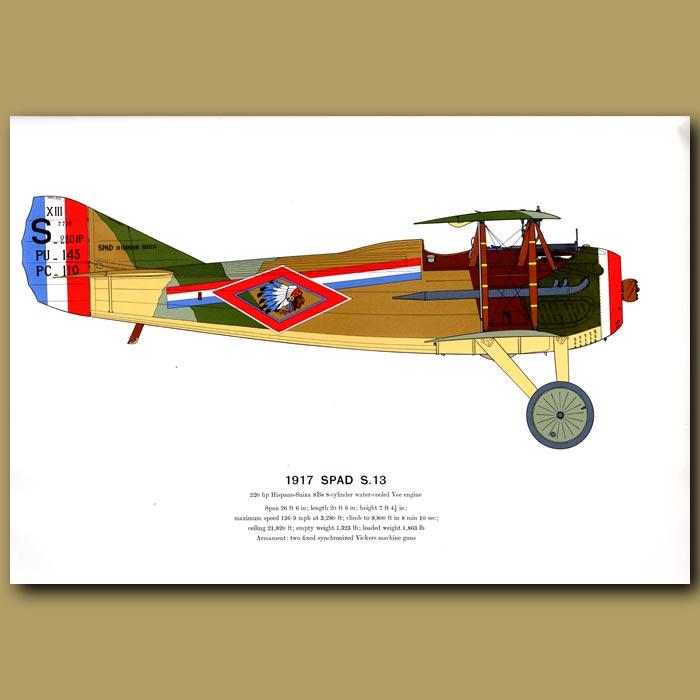 Antique print. Spad S. 13 Plane 1917