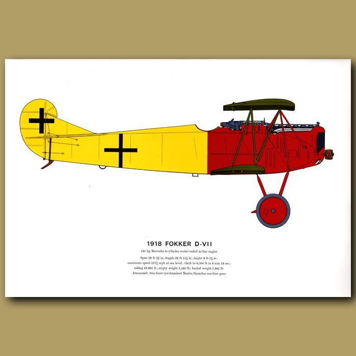 Antique print. Fokker D – VII Plane 1918
